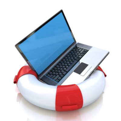 Laptop on lifebuoy over white, support, service concept. in the design of the information related to the Internet and support